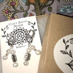 Casey Keith Design Jewelry - Pearled Cross Earrings